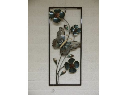 Wanddecoratie vlinders met lijst 33.5cmBx80cmH